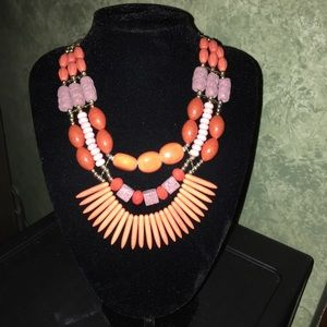 Jewelry - Ceramic Mixed Beads Statement Necklace & Earrings